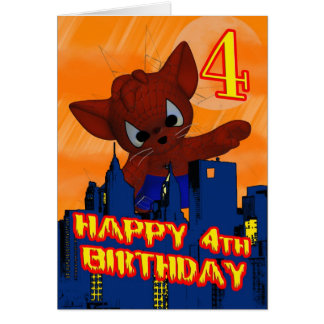 4th Birthday Spider Cat, Fourth Birthday Card