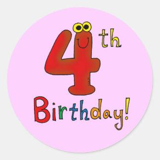 4th Birthday! Classic Round Sticker