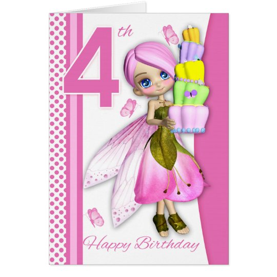 4th Birthday Tipsy Cake Fantasy Fairy Cutie Pie Card