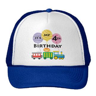 4th Birthday Train Birthday Cap