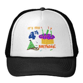 4th Birthday Trucker Hats