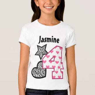 4th Birthday Zebra Hearts Four Year Old 10C Tshirt