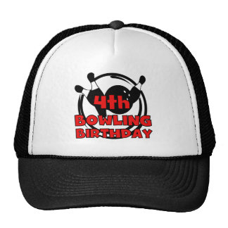 4th Bowling Birthday Tshirts and Gifts Trucker Hats