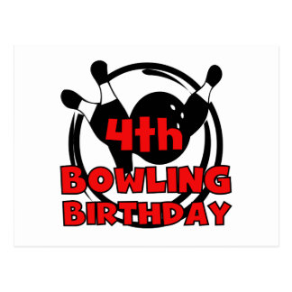 4th Bowling Birthday Tshirts and Gifts Post Card