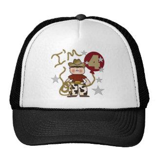4th Cowboy Birthday Tshirts and Gifts Mesh Hat