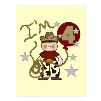 4th Cowboy Birthday Tshirts and Gifts Postcard