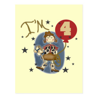 4th Cowgirl Birthday Tshirts and Gifts Postcard