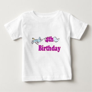 4th fourth birthday aeroplane banner t-shirt