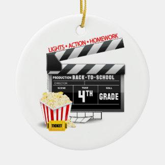4th Grade Movie Clapboard Round Ceramic Decoration