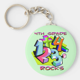 4th Grade Rocks - Numbers Basic Round Button Key Ring
