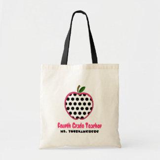 4th Grade Teacher Bag - Polka Dot Apple