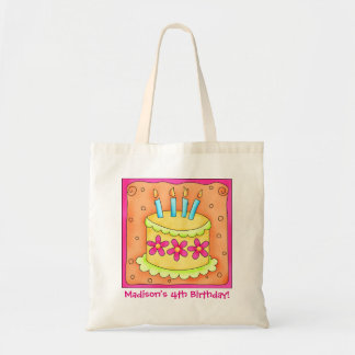 4th Happy Birthday Cake Name Personalize Girl Gift Tote Bag