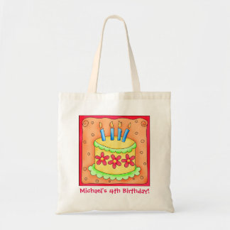 4th Happy Birthday Cake Name Personalized Boy Gift Budget Tote Bag