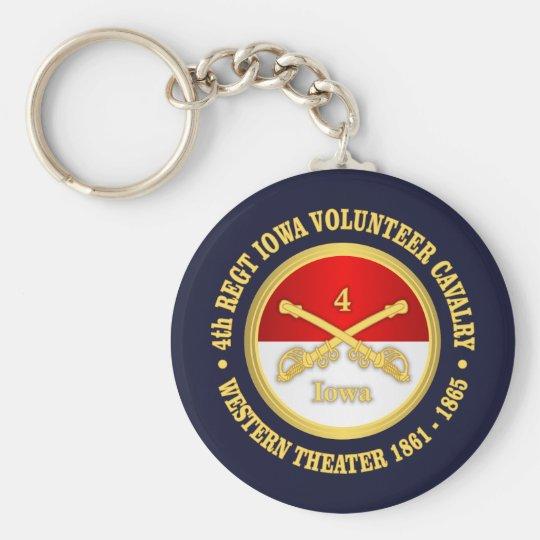 4th Iowa Cavalry Basic Round Button Key Ring