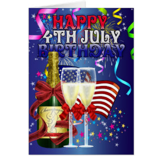 4th July Birthday - Birthday On The Fourth Of July Greeting Card