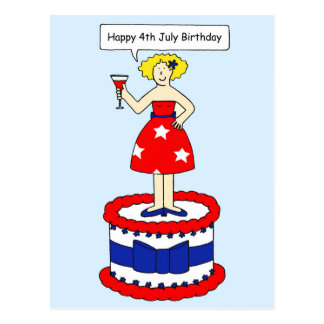 4th July Birthday Fun Lady Postcard