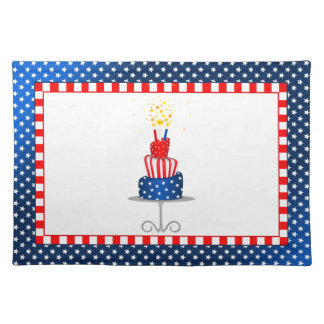 4th July Celebration Cake in Red, White and Blue Placemat