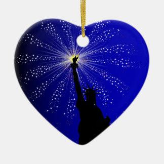 4th July Ceramic Heart Decoration