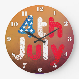 4th July Grunge Effect Large Clock