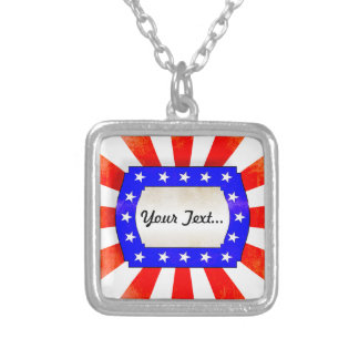 4th July Independence Day Silver Plated Necklace