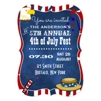 """4th July Red White & Blue Chalkboard Party Invites 5"""" X 7"""" Invitation Card"""