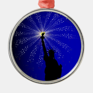 4th July Silver-Colored Round Decoration