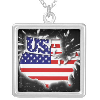 4th July USA 01 Square Pendant Necklace