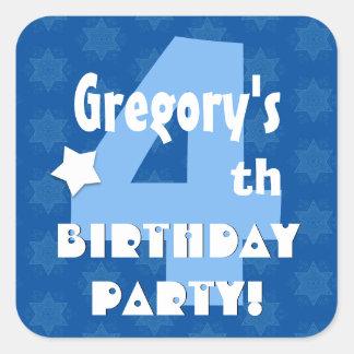 4th Kids Birthday Party Custom Name V3 Square Sticker