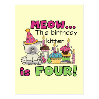 4th Kitten Birthday T-shirts and Gifts Postcard