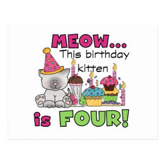 4th Kitten Birthday T-shirts and Gifts Postcards