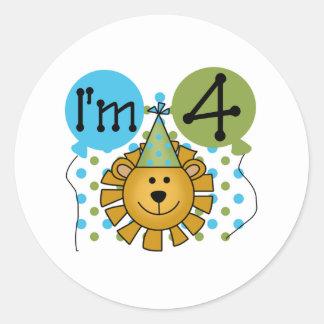 4th Lion Birthday Round Sticker