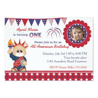 4th of July 1st Birthday Photo 13 Cm X 18 Cm Invitation Card