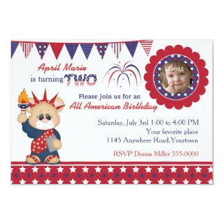 4th of July 2nd Birthday Photo 13 Cm X 18 Cm Invitation Card