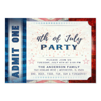 4th of July Admit One Party Ticket Invite