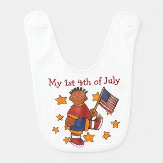 4th of July African American Boy Baby Bib