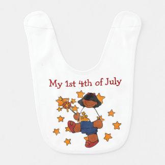 4th of July African American Girl Baby Bib