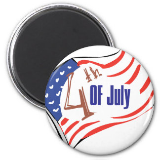 4th of July American Flag 6 Cm Round Magnet