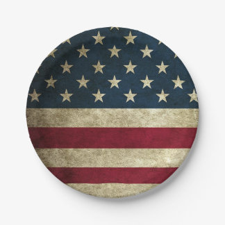 4th of July American Flag Rustic Paper Plates