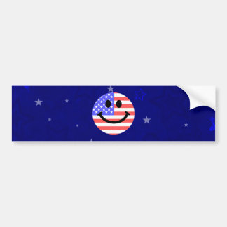 4th of July American Flag Smiley face Bumper Sticker