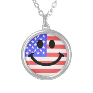 4th of July American Flag Smiley face Personalized Necklace