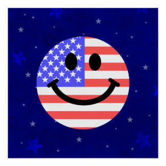 4th of July American Flag Smiley face Poster