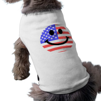 4th of July American Flag Smiley face Sleeveless Dog Shirt