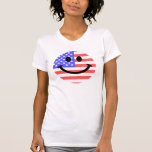4th of July American Flag Smiley face T Shirts