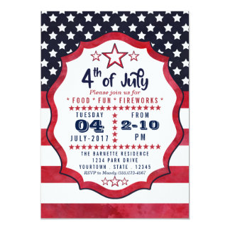 4th of July American Flag Stars Party Invitation
