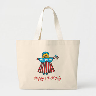 4th of july angel large tote bag
