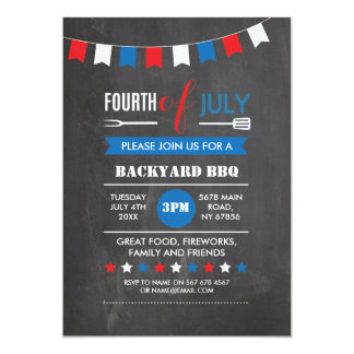 4th of July Backyard BBQ Independence Party Invite