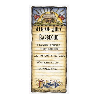 4th of July barbecue menu Full Colour Rack Card