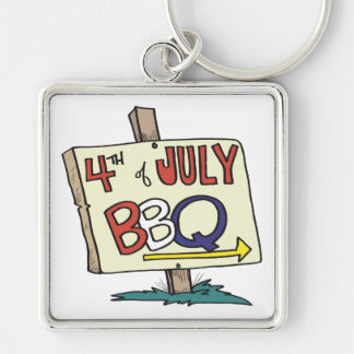 4th Of July Barbeque Silver-Colored Square Key Ring