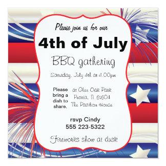4th of July BBQ 13 Cm X 13 Cm Square Invitation Card