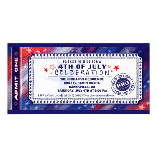 4th of July BBQ Admit One Ticket Invitation Personalized Photo Card
